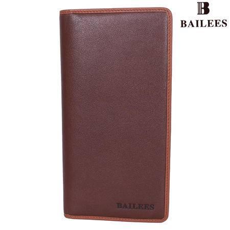 英国百利BAILEES 专柜新品 头层牛皮 长款 男钱包 BQ11-902108 啡