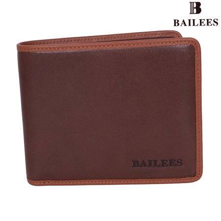 英国百利BAILEES 专柜新品 头层牛皮 横款 男钱包 BQ11-902106 啡