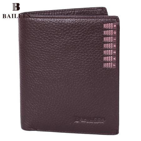 英国百利BAILEES 专柜新品 竖款 牛皮男钱包 BQ54-56375-7 啡