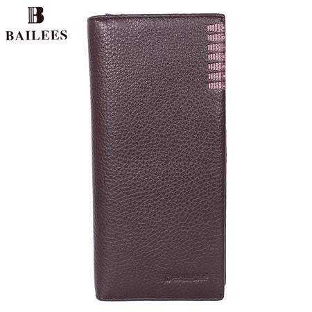 英国百利BAILEES 专柜新品 长款 牛皮男钱包 BQ54-56375-8 啡