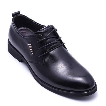 法国路易保罗新款正品头层牛皮男鞋系带商务单鞋 88369 黑