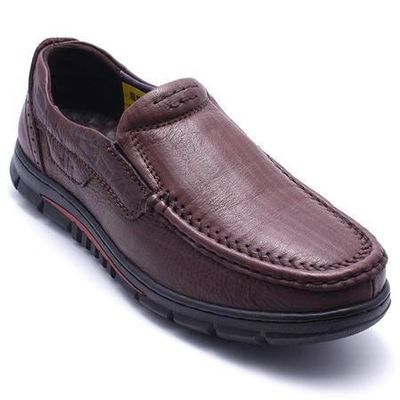 法国路易保罗新款正品头层牛皮男鞋套脚休闲皮鞋超软功能鞋单鞋 556-1 暗棕