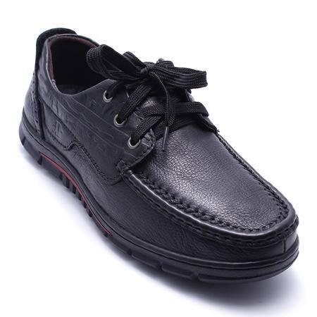法国路易保罗新款正品头层牛皮男鞋系带休闲皮鞋超软功能鞋单鞋 556-2 黑