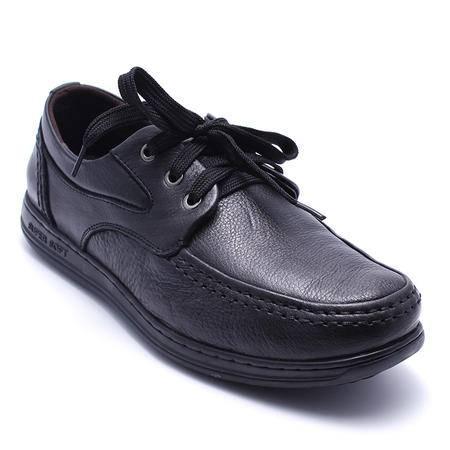 法国路易保罗新款正品头层牛皮男鞋系带休闲皮鞋超软功能鞋单鞋 557-2 黑