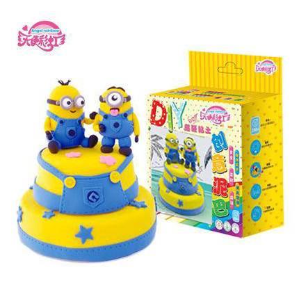 天使彩虹新品儿童玩具双层小黄人蛋糕大盒款 超轻粘土材料包DIY热销益智玩具礼物