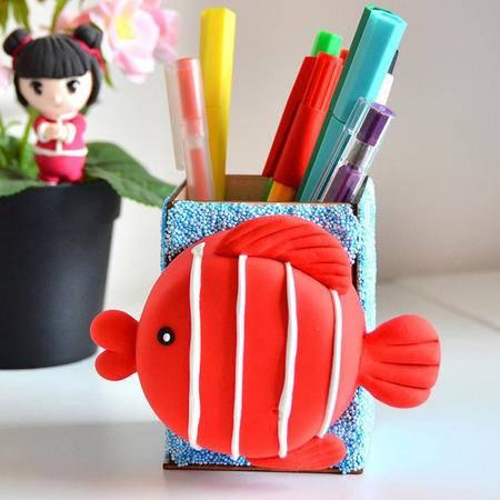 天使彩虹创意手工diy小鱼笔筒超轻粘土材料包无毒彩泥玩具益智橡皮泥