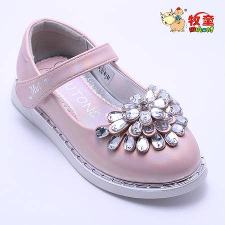 牧童童鞋正品女童小童钻饰皮鞋公主单鞋 6828033 2色 25-30
