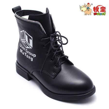 牧童童鞋2016冬季新款女童中大童皮靴二棉保暖时装靴6919605 2色 32-38
