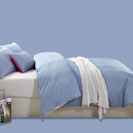 愉悦家纺全棉正品简约纯色四件套床单纯棉床品双拼4件套包邮