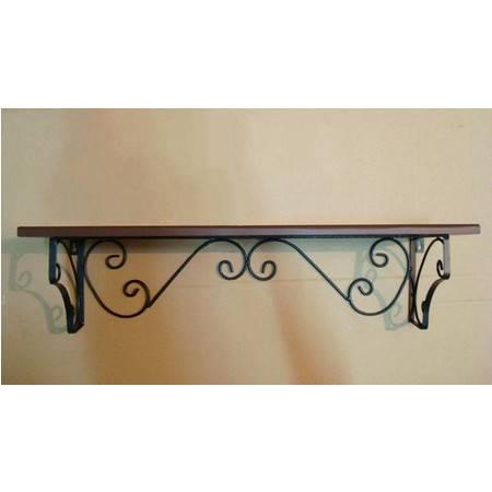 欧式铁艺隔板置物架 实木 墙壁储物架 壁挂架 收纳架 (大号)