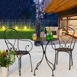 欧式家具 铁艺桌椅三件套 户外休闲桌椅套装 庭院桌椅 田园