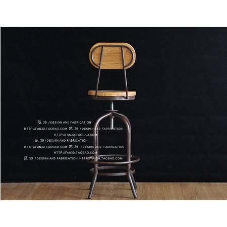 美式复古时尚实木做旧铁艺吧台椅子休闲椅子高脚旋转升降椅酒吧椅