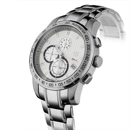 大宏原装正品商务男式手表精英三眼多功能精钢男士钢带运动手表 钢表SB-80006