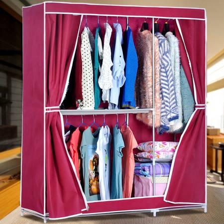 索尔诺简易组合布衣柜 加粗钢管储物柜 加固布衣橱 防尘收纳柜1405