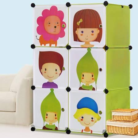 索尔诺卡通儿童简易衣柜 宝宝婴儿小孩衣柜 组合塑料组装衣橱