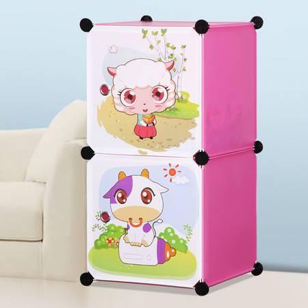 索尔诺卡通衣柜简易儿童宝宝婴儿收纳柜组合塑料树脂组装衣橱衣柜