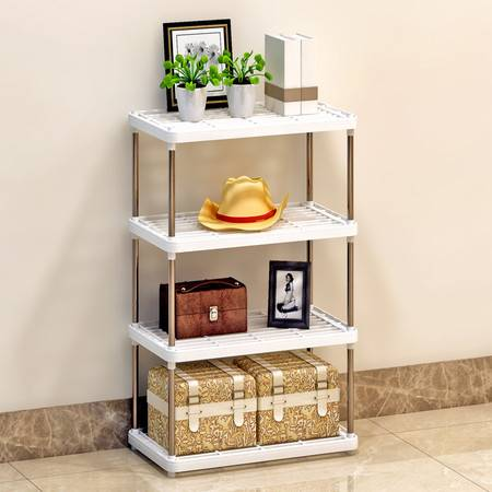 索尔诺置物架 厨房层架塑料落地收纳储物架 浴室客厅整理架子四层