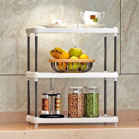 索尔诺置物架 厨房层架塑料落地收纳储物架 浴室客厅整理架子三层