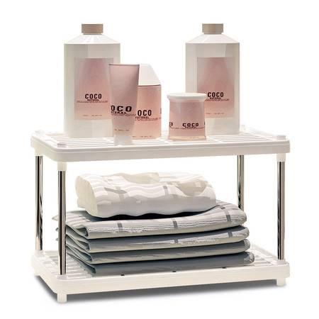 索尔诺置物架 厨房层架塑料落地收纳储物架 浴室客厅整理架子两层