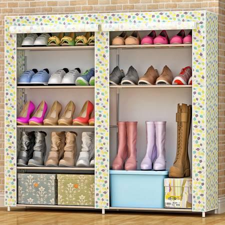 索尔诺 简易鞋柜鞋架 组装多层铁艺收纳防尘布鞋柜现代简约0503