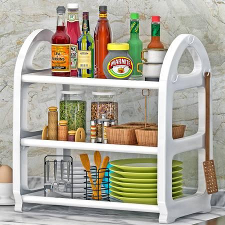 索尔诺 置物架 厨房层架塑料落地收纳储物架 浴室客厅整理架子3层Z683