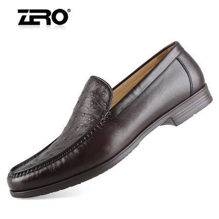 Zero零度男鞋 高端商务休闲皮鞋 进口鸵鸟皮加袋鼠皮 纯手工91395