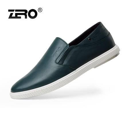 Zero零度新品男士真皮休闲鞋韩版潮流男鞋透气一脚蹬懒人鞋63939