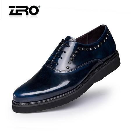Zero零度秋季新品潮男鞋韩版时尚手工真皮正装皮鞋铆钉鞋子F6547