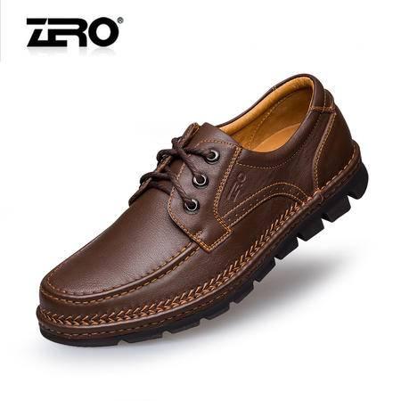Zero零度秋季新款男鞋休闲皮鞋真皮手工鞋时尚商务男士鞋子F6539