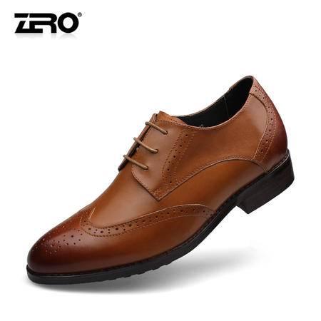 Zero零度布洛克雕花男鞋内增高真皮高端商务鞋65022