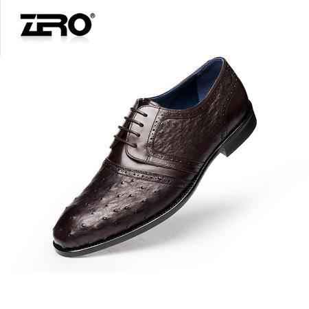 Zero零度新款皮鞋 商务正装鞋 系带男单鞋 鸵鸟皮高端男鞋63962
