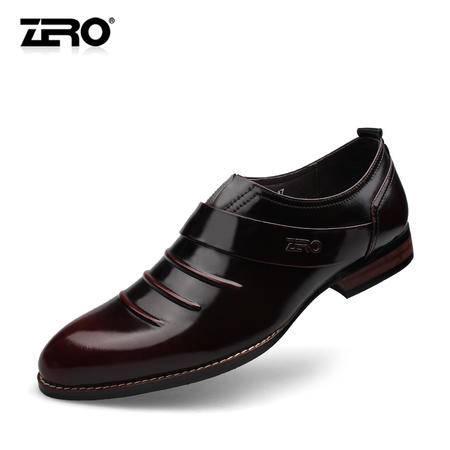 Zero零度新款英伦风手工男鞋尖头真皮擦色婚鞋商务正装皮鞋65017