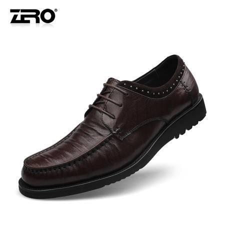 Zero零度秋季新款休闲皮鞋真皮舒适软底潮流系带商务男鞋F6565