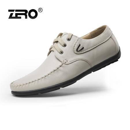 Zero零度新品时尚休闲鞋潮男鞋男士皮鞋头层超软牛皮豆豆鞋63960