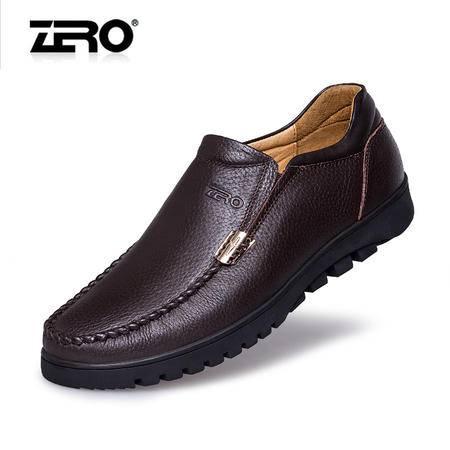 Zero零度新款休闲皮鞋真皮经典厚底男鞋增高皮鞋6595
