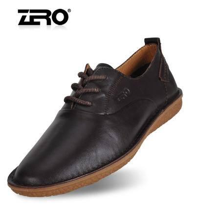 Zero零度男士休闲皮鞋纯手工真皮头层皮牛筋底软底时尚男鞋63965