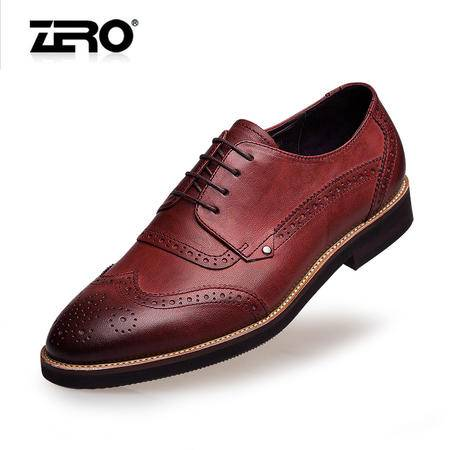 Zero零度秋季新品布洛克雕花男鞋复古英伦风潮流真皮男鞋F6573