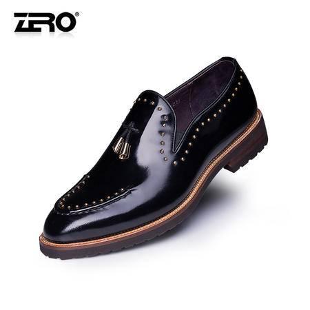 Zero零度秋季新款潮鞋英伦风手工擦色牛皮男鞋时尚乐福鞋F6560