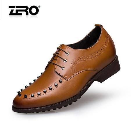 Zero零度内增高皮鞋时尚铆钉男鞋真皮手工潮流增高正装皮鞋F6550