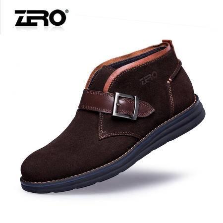 Zero零度冬季新款皮靴头层牛皮磨砂皮潮流商务男靴减震短靴F6583