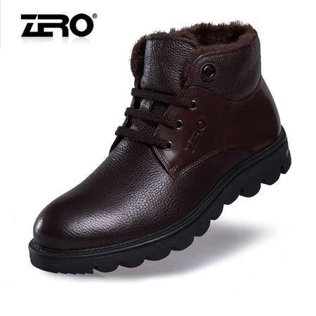 Zero零度冬季新品工装靴潮流保暖真皮男靴厚底防滑雪地靴F6582