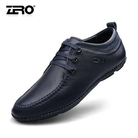 zero零度秋季日常休闲皮鞋真皮纯手工男鞋潮流时尚软底男鞋63986