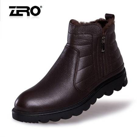 Zero零度冬季新款棉靴厚底保暖男靴潮流皮靴子F6581
