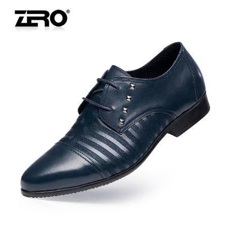 Zero零度春夏新款正装皮鞋时尚铆钉潮流男士商务皮鞋真皮男鞋8939
