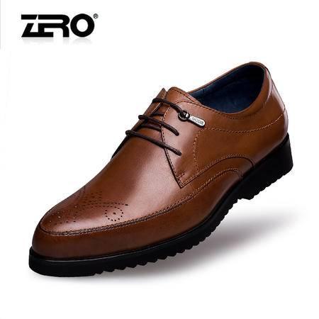 Zero零度皮鞋春季新品布洛克头层牛皮雕花英伦男士商务正装鞋8956