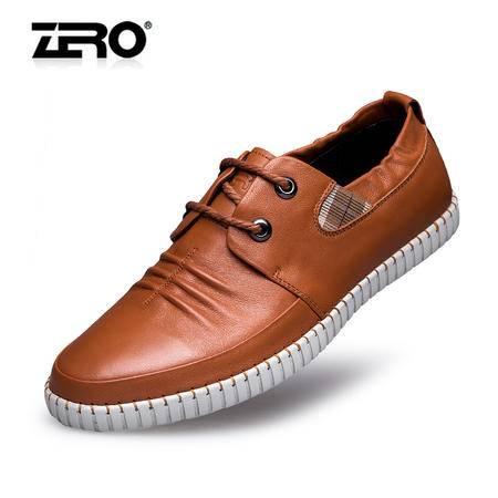 Zero零度休闲皮鞋春季新款高档头层牛皮潮流男鞋手工缝制板鞋8921