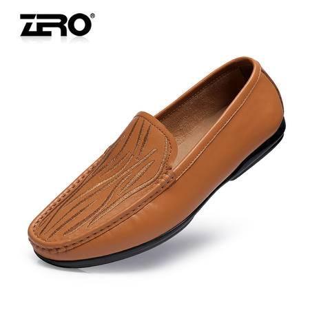 Zero零度透气男鞋新款休闲皮鞋真皮时尚潮休闲鞋日常驾车鞋F8942