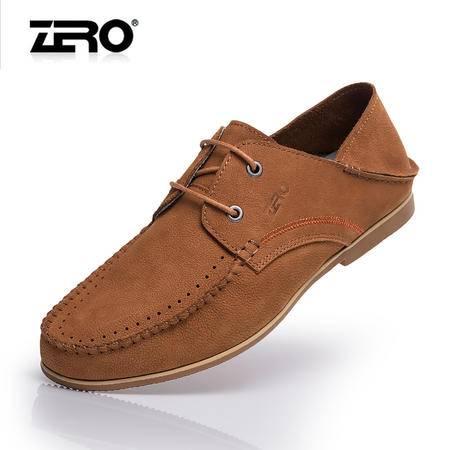 Zero零度春季新品休闲皮鞋手工缝线头层软皮潮男鞋懒人鞋子F8970