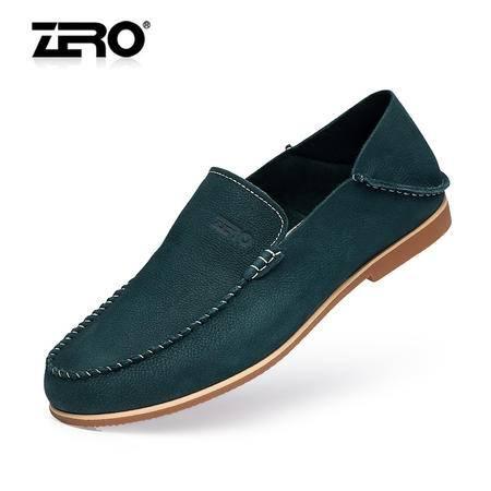 Zero零度春季新款休闲皮鞋真皮手工鞋一脚蹬懒人鞋男士单鞋F8973