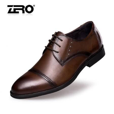 Zero零度男士皮鞋新款正装皮鞋头层皮英伦时尚潮商务鞋婚鞋F8968